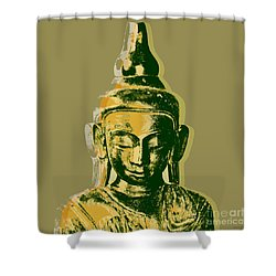 Shower Curtain featuring the digital art Thai Buddha #4 Pop Art Warhol Style Print.  by Jean luc Comperat