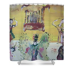 Shower Curtain featuring the painting Thai Butterfly Dance by Judith Desrosiers