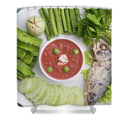 Shower Curtain featuring the photograph Thai Chili Paste by Atiketta Sangasaeng