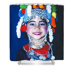 Shower Curtain featuring the photograph Thai Girl Traditionally Dressed by Heiko Koehrer-Wagner