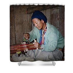 Shower Curtain featuring the photograph Thai Weaving Tradition by Heiko Koehrer-Wagner