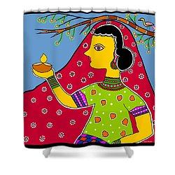 Thamasoma Jyothirgamaya Shower Curtain by Latha Gokuldas Panicker