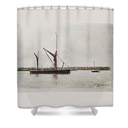 Thames Barge Maldon Shower Curtain by Roger Lighterness