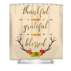 Shower Curtain featuring the digital art Thankful Grateful Blessed Fall Leaves Antlers by Georgeta Blanaru