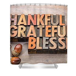 thankful, grateful, blessed - Thanksgiving theme Shower Curtain
