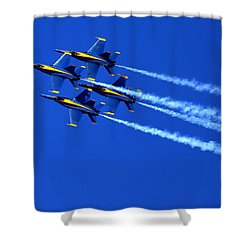 Thanks Goodness For That Fourth Dimension As A Boeing 767 Transitions Above The Box. Shower Curtain