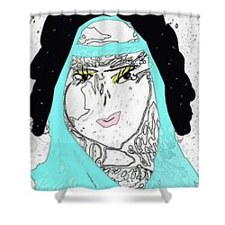 Shower Curtain featuring the mixed media Thanksgiving Princess by Ann Calvo