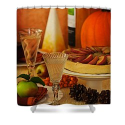 Thanksgiving Table Shower Curtain by Amanda Elwell
