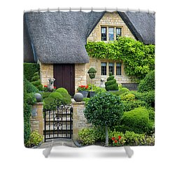 Shower Curtain featuring the photograph Thatch Roof Cottage Home by Brian Jannsen