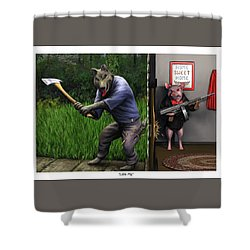 That's What You Think Wolf Shower Curtain by Dave Luebbert