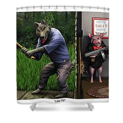 Shower Curtain featuring the painting That's What You Think Wolf by Dave Luebbert