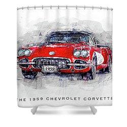 The 1959 Chevrolet Corvette Shower Curtain
