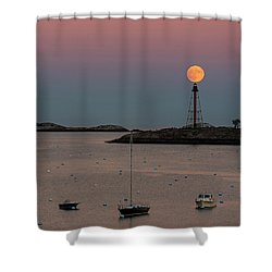 The 2016 Supermoon Balancing On The Marblehead Light Tower In Marblehead Ma Shower Curtain