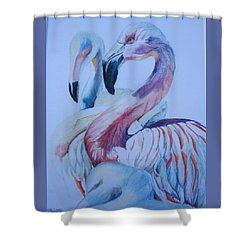 The 3 Flamingos Shower Curtain