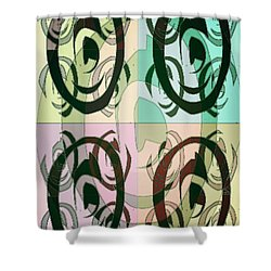 Shower Curtain featuring the mixed media The 5th Eye 2 by Ann Calvo