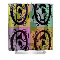 Shower Curtain featuring the mixed media The 5th Eye by Ann Calvo