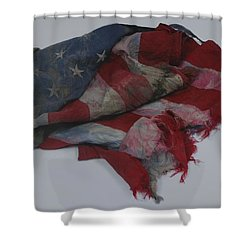 The 9 11 W T C Fallen Heros American Flag Shower Curtain by Rob Hans