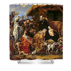 The Adoration Of The Magi Shower Curtain by Jacob Jordaens