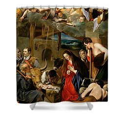 The Adoration Of The Shepherds Shower Curtain by Fray Juan Batista Maino or Mayno