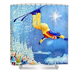 The Aerial Skier 18 Shower Curtain by Hanne Lore Koehler