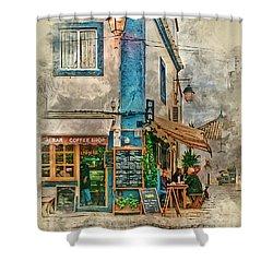 The Albar Coffee Shop In Alvor. Shower Curtain