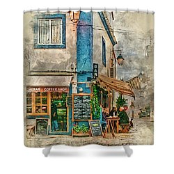 The Albar Coffee Shop In Alvor. Shower Curtain