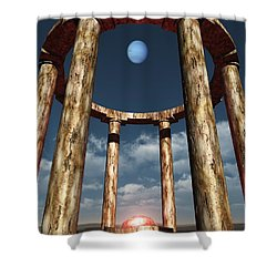 The Aligning Of Neptune Shower Curtain by Richard Rizzo