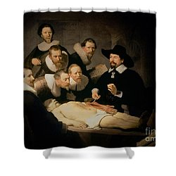 The Anatomy Lesson Of Doctor Nicolaes Tulp Shower Curtain by Rembrandt Harmenszoon van Rijn