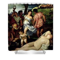 The Andrians Shower Curtain by Titian