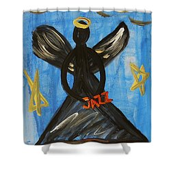 Shower Curtain featuring the painting The Angel Of Jazz by Mary Carol Williams