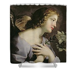 The Angel Of The Annunciation Shower Curtain by Giovanni Francesco Romanelli