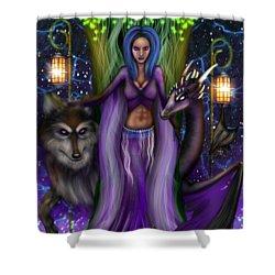 The Animal Goddess Fantasy Art Shower Curtain