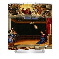 The Annunnciation Shower Curtain by Girolamo da Santacroce