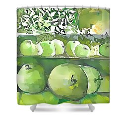 Shower Curtain featuring the painting The Apple Closet by Mindy Newman
