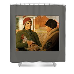 Shower Curtain featuring the painting The Appraisal by Celestial Images