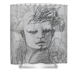 The Archangel Michael By Alice Iordache Original Drawing Shower Curtain by Iordache Alice