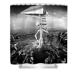 The Arrival Black And White Shower Curtain by Marian Voicu