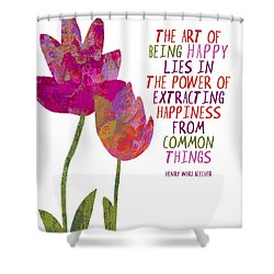 Shower Curtain featuring the painting The Art Of Being Happy by Lisa Weedn