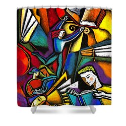 Shower Curtain featuring the painting The Art Of Learning by Leon Zernitsky