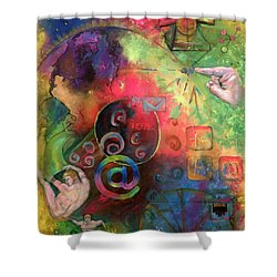 The Art Of The Net Shower Curtain by Peter Bonk