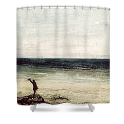 The Artist On The Seashore At Palavas Shower Curtain by Gustave Courbet