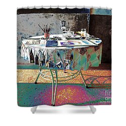 The Artists Table Shower Curtain by Don Pedro De Gracia