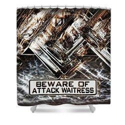 The Attack Waitress  Shower Curtain by Joan  Minchak