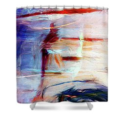Shower Curtain featuring the painting The Auberge by Dominic Piperata