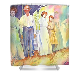 The Aunts Come Calling Shower Curtain by Tara Moorman