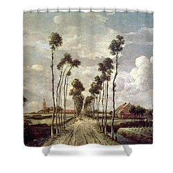 The Avenue At Middelharnis Shower Curtain by Meindert Hobbema