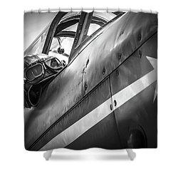 The Aviator - Bw Series Shower Curtain