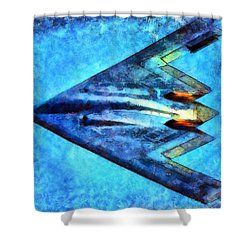 Shower Curtain featuring the painting The B-53bomber by Mario Carini
