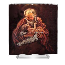 Shower Curtain featuring the painting The Baby Jesus - A Study by Donna Tucker