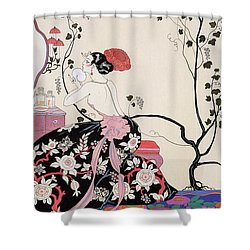 The Backless Dress Shower Curtain by Georges Barbier